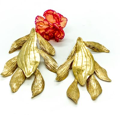 Large Orquid Tumbaga Earring