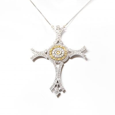 18kt White and Yellow Gold Diamond Cross