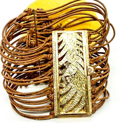 Leather and Gold Bird Bracelet