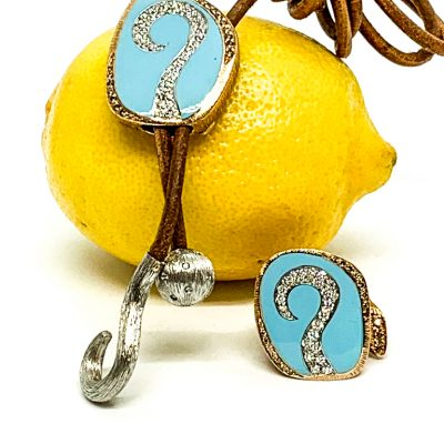 Turquoise and Gold Question Mark Bolo
