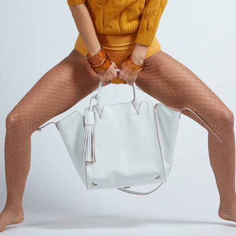 Adriana Bag in White - Italian Leather Handbag - Brenda Schoenfeld
