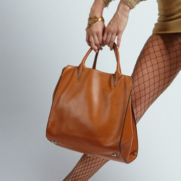 Adriana Bag in Tan with Model - Italian Leather Handbag - Brenda Schoenfeld