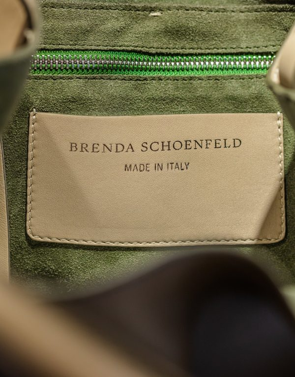 Adriana Bag in Sage with Brenda Schoenfeld Emblem - Italian Leather Handbag