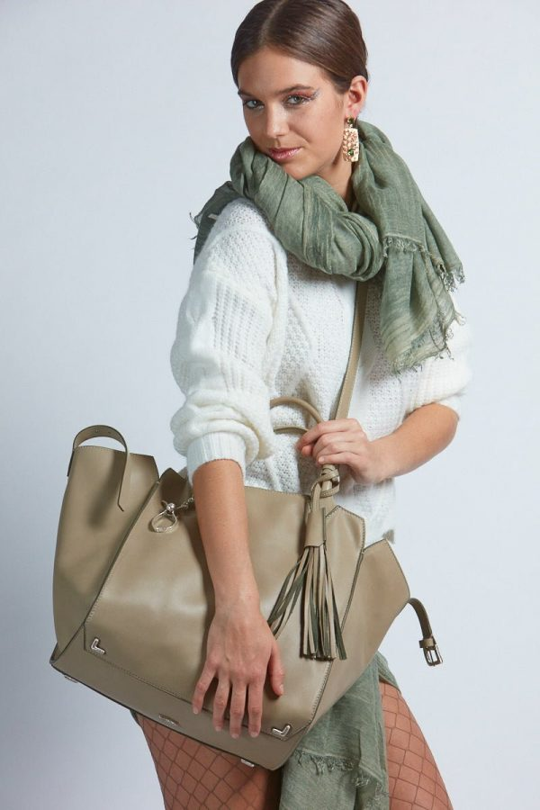 Adriana Bag in Sage in Fall/Winter Mood - Italian Leather Handbag - Brenda Schoenfeld