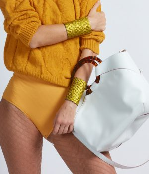 Sole Bag in White shown with Yellow Mood - Italian Leather Handbag - Brenda Schoenfeld
