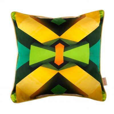 Yellow Kaleidoscope Blocks Pillow