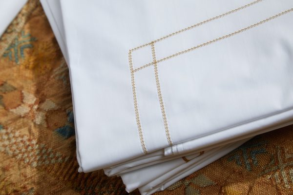 Double Hemstitch Sheet Set with Hand-Stitched Embroidery - Luxury Linens - Made in Italy