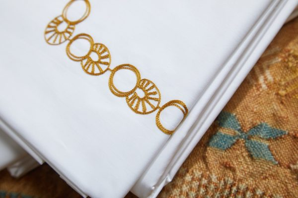 Alma Piccolo Sheet Set Showing Detailed Embroidery - Luxury Linens - Made in Italy