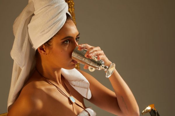 Windows to the Soul Goblet with Model in Towel