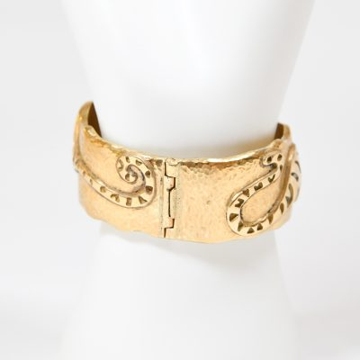 Engraved Tiger Cuff Gold