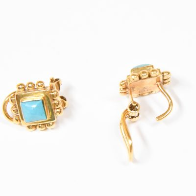 Gold Square Earring with Stone