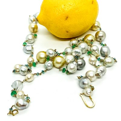 Pearl Necklace with Emeralds & Aquamarine