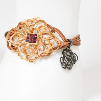 Rubellite and Diamond Cord Bracelet