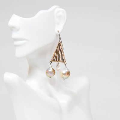 Triangular Shaped Gold and Pearl Earrings