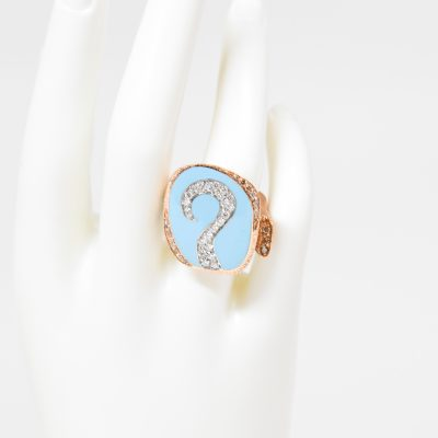Turquoise Question Mark Ring with Diamonds