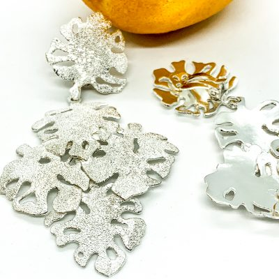 Diamond Dust Filo Leaf Clip-On Earrings