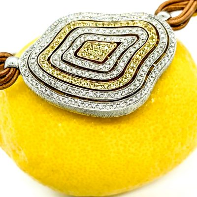 White and Yellow Diamond Waves Necklace on Cord