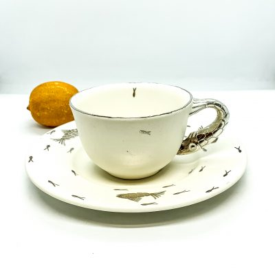 Cup with Fish Handle and Saucer
