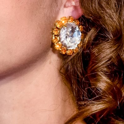 Round Crystal Clip On Earrings