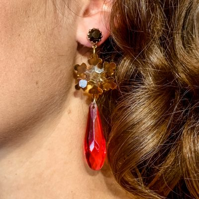 Lucite Star Drop Earrings