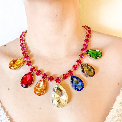 Necklace with Multicolor Drops