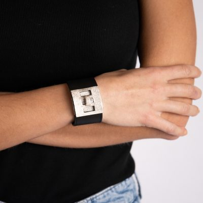 Leather Cuff with Diamond Dust Clasp