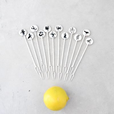 Silver Cocktail & Martini Picks (Set of 12 Picks and Vase)