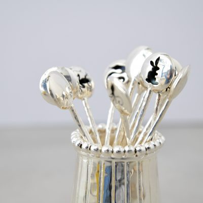 Moon Glow Silver Cocktail & Martini Picks (Set of 12 Picks and Vase)