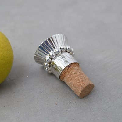 Silver Moon Glow Cork Bottle Stopper