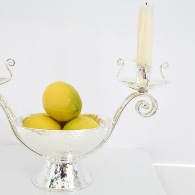 Silver Candelabra & Fruit Bowl